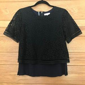 Rebecca Taylor black short sleeve lace blouse